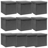 vidaXL Storage Boxes with Lids 10 pcs Grey 32x32x32 cm Fabric