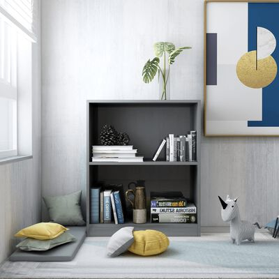 vidaXL Bookshelf High Gloss Grey 60x24x74.5 cm Chipboard, Highglossgrey