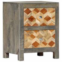 vidaXL Bedside Cabinet Grey 40x30x50 cm Solid Mango Wood