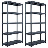 vidaXL Storage Shelf Racks 2 pcs Black 250 kg 80x40x180 cm Plastic