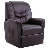 vidaXL Reclining Chair Brown Faux Leather