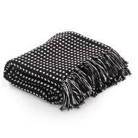 vidaXL Throw Cotton Squares 125x150 cm Black
