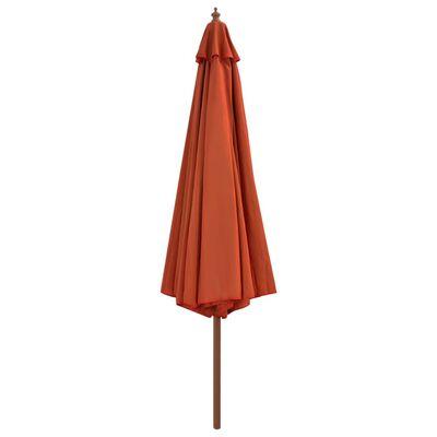 vidaXL Outdoor Parasol with Wooden Pole 350 cm Terracotta