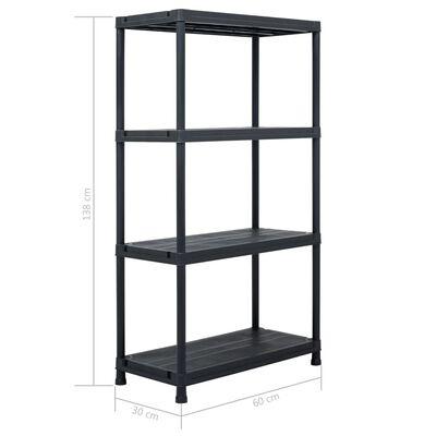 vidaXL Storage Shelf Racks 5 pcs Black 60x30x138 cm Plastic,