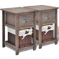 vidaXL Bedside Cabinets 2 pcs Wood Brown