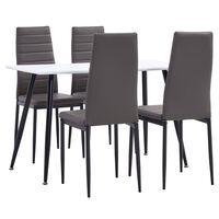 vidaXL 5 Piece Dining Set Faux Leather Grey