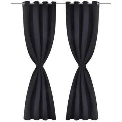 2 pcs Black Blackout Curtains with Metal Rings 135 x 245 cm