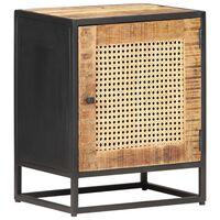 vidaXL Bedside Cabinet 40x30x50 cm Rough Mango Wood and Natural Cane