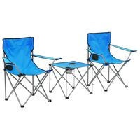 vidaXL Camping Table and Chair Set 3 Pieces Blue