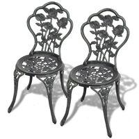 vidaXL Bistro Chairs 2 pcs Cast Aluminium Green