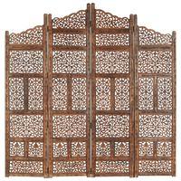 vidaXL Hand carved 4-Panel Room Divider Brown 160x165 cm Solid Mango Wood