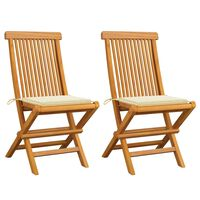 vidaXL Garden Chairs with Cream Cushions 2 pcs Solid Teak Wood