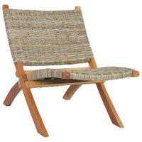vidaXL Relaxing Chair Natural Kubu Rattan and Solid Mahogany Wood