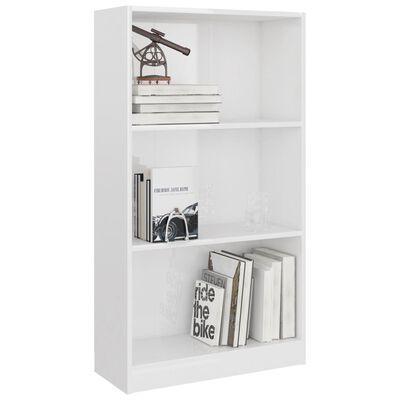 vidaXL 3-Tier Book Cabinet High Gloss White 60x24x108 cm Chipboard