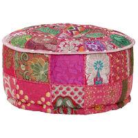 vidaXL Patchwork Pouffe Round Cotton Handmade 40x20 cm Pink