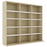 vidaXL CD Cabinet White and Sonoma Oak 102x23x89,5 cm Chipboard