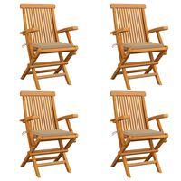 vidaXL Garden Chairs with Beige Cushions 4 pcs Solid Teak Wood