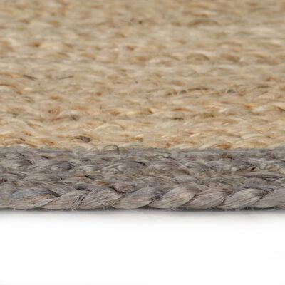 vidaXL Handmade Rug Jute with Grey Border 120 cm