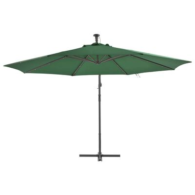 vidaXL Cantilever Umbrella with LED Lights and Metal Pole 350 cm Green