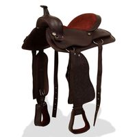 """vidaXL Western Saddle, Headstall&Breast Collar Real Leather 17"""" Brown"""