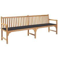 vidaXL Garden Bench with Anthracite Cushion 240 cm Solid Teak Wood