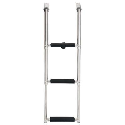 vidaXL Folding Boarding Ladder 3-step Stainless Steel,