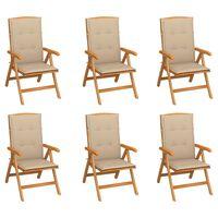 vidaXL Reclining Garden Chairs with Cushions 6 pcs Solid Teak Wood