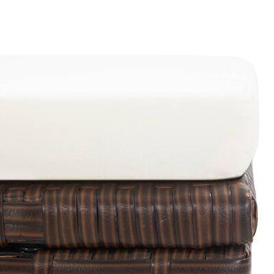 vidaXL Garden Stools 2 pcs with Cushions Poly Rattan Brown