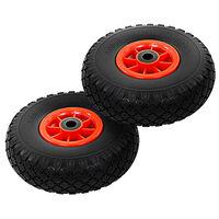 vidaXL Sack Truck Wheels 2 pcs Solid PU 3.00-4