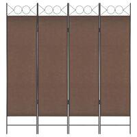 vidaXL 4-Panel Room Divider Brown 160x180 cm