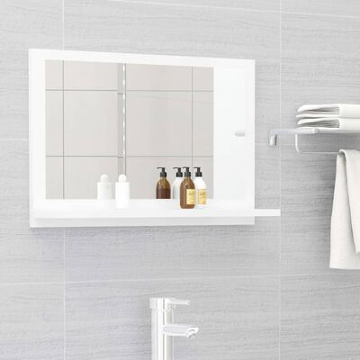 vidaXL Bathroom Mirror High Gloss White 60cm Chipboard