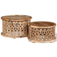 vidaXL Two Piece Coffee Table Set Solid Mango Wood