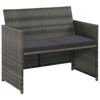 vidaXL 2 Seater Garden Sofa with Cushions Grey Poly Rattan