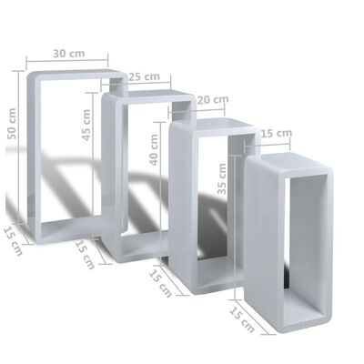 vidaXL Wall Cube Shelves 8 pcs White