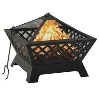 vidaXL Fire Pit with Poker 64 cm XXL Steel