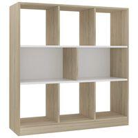 vidaXL Book Cabinet White and Sonoma Oak 97.5x29.5x100 cm Chipboard