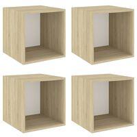 vidaXL Wall Cabinets 4 pcs White and Sonoma Oak 37x37x37 cm Chipboard