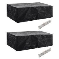 vidaXL Garden Furniture Covers 2 pcs 8 Person Poly Rattan Set 10 Eyelets 300x140 cm