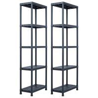 vidaXL Storage Shelf Racks 2 pcs Black 125 kg 60x30x180 cm Plastic