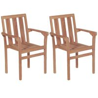 vidaXL Stacking Garden Chairs 2 pcs Solid Teak Wood