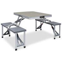 vidaXL Folding Camping Table with 4 Seats Steel Aluminium