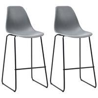 vidaXL Bar Chairs 2 pcs Grey Plastic