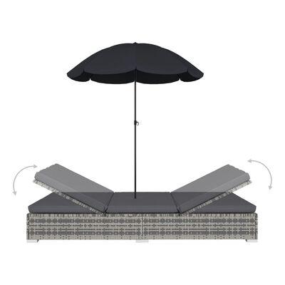 vidaXL Outdoor Lounge Bed with Umbrella Poly Rattan Grey