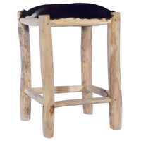 vidaXL Bar Stool Real Goat Leather and Solid Teak Wood