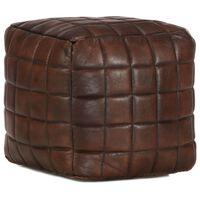 vidaXL Pouffe Dark Brown 40x40x40 cm Genuine Goat Leather