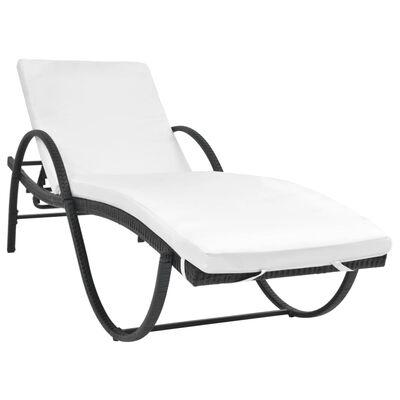 vidaXL Sun Lounger with Cushion & Table Poly Rattan Black