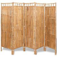 vidaXL 5-Panel Room Divider Bamboo 200x160 cm