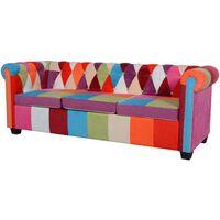 vidaXL Chesterfield Sofa 3-Seater Fabric