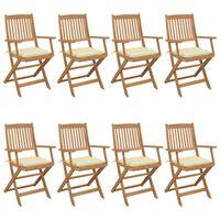 vidaXL Folding Garden Chairs 8 pcs with Cushions Solid Acacia Wood