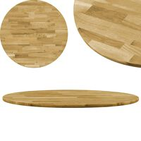 vidaXL Table Top Solid Oak Wood Round 23 mm 800 mm